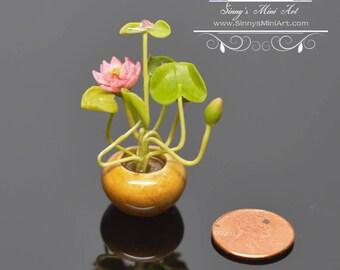 1:12 Dollhouse Miniature Water Lily Arrangement/ Miniature Gardening BD A107