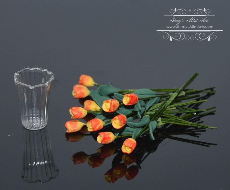 Miniature Flowers 1:12 Dollhouse Miniature 12 Yellow//Orange Tulips in Vase