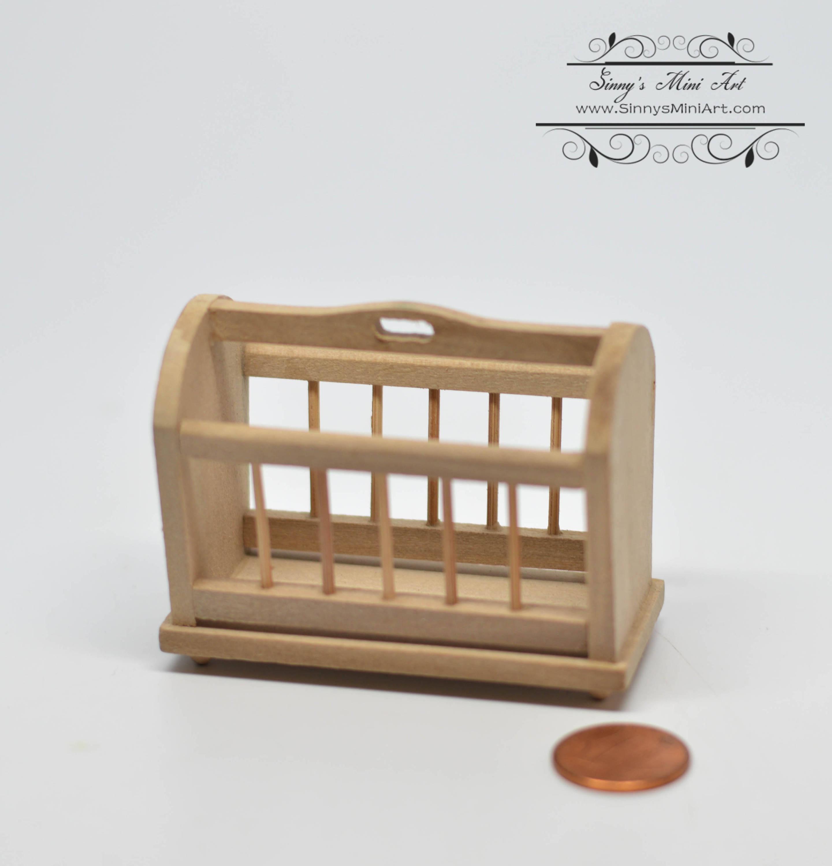 Dollhouse Miniature Unfinished Wood Magazine Rack Holder ~ GW016