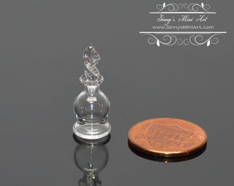 1:12 Dollhouse Miniature Glass Jar with Clear Stopper/ Miniature Perfume BD HB514