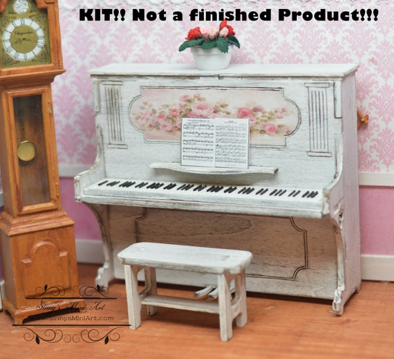 Vintage Dollhouse Furniture Black Wooden Grand Piano /& Stool 1:12 Model Kit