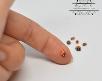 1:12 Dollhouse Miniature Ladybugs, Set of 6, Assorted Sizes BD MF020