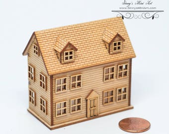 Kit 1:144 Laser Cut Colonial Dollhouse Kit (Engraved) / DIY dollhouse/ DIY Dollhouse SMA H001