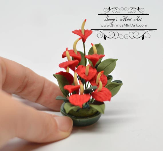 Dollhouse Miniature Yellow Orchids in Pot A1180