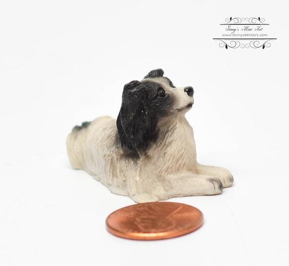 Dollhouse Miniature Fairy Garden Pet Black Collie Sheepdog Dog//Puppy