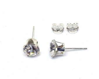 6mm 4 Claw Set 925 Solid Silver Stud Earrings With Xirius Crystals By Swarovski-crystal Clear, Aurora Borealis, Amethyst Or Rose