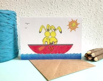 Congratulatory Card Blank Card Congratulations Gift Card Train Flags A6 Postcard Card Recycled Paper.