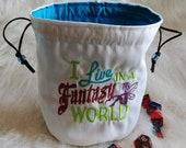 Embroidered - Fantasy World - Standing Dice Bag - Drawstring Closure