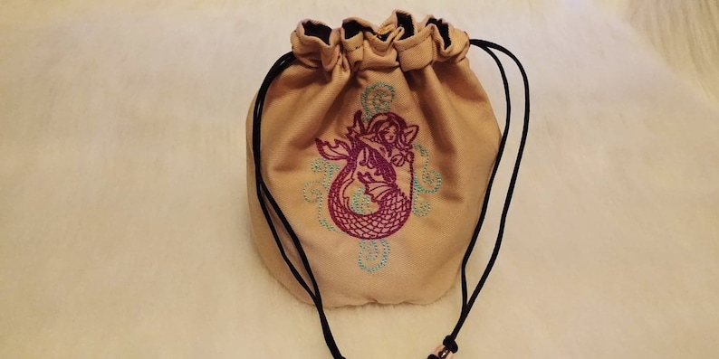 Drawstring Closure Standing Dice Bag Embroidered Mermaid