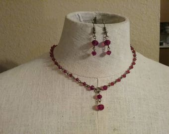 Art Deco-Inspired Glass Red Y-Necklace