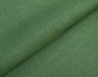 Dark Green Leaf Green Linen Fabric