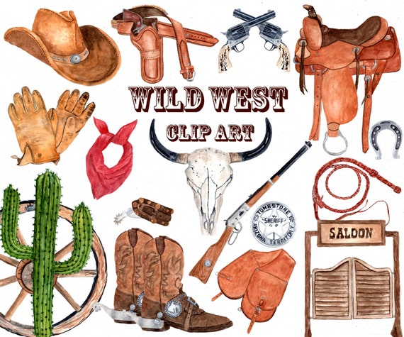 watercolor western clipart cowboy clipart skull etsy rh etsy com western clipart png western clipart border free