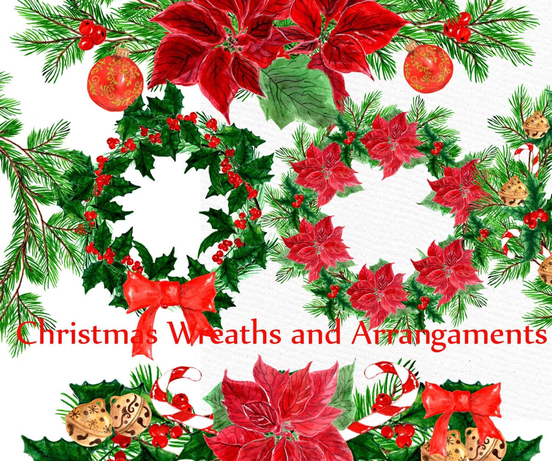 Christmas wreath clipart: CHRISTMAS CLIP ART | Etsy
