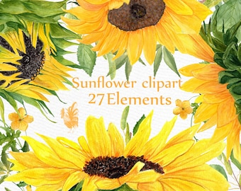 "Sunflower Watercolor clipart: ""SUNFLOWER CLIP ART"" Wedding clipart Floral clipart Separate flowers Diy wedding Greeting Cards Yellow flowers"