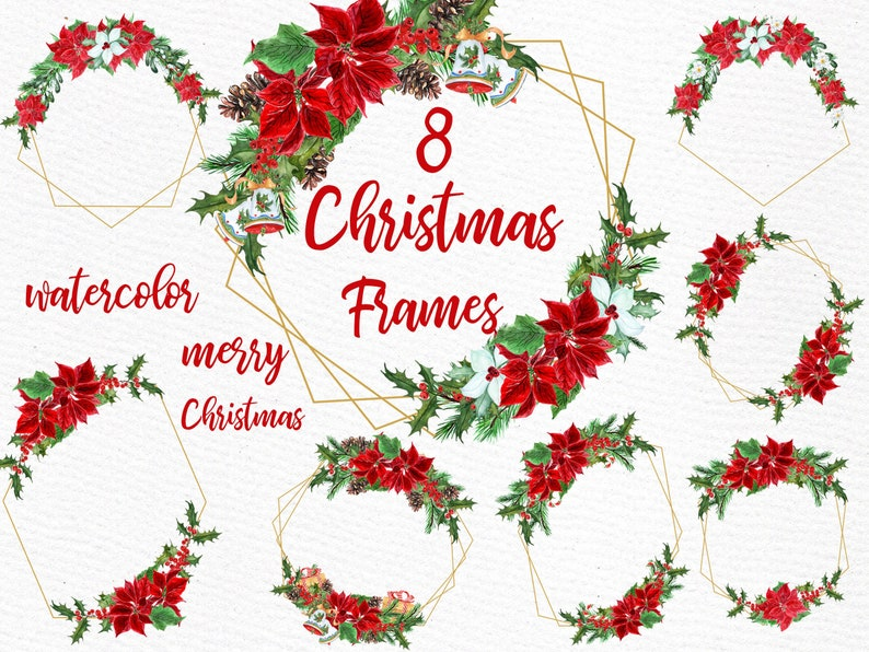 Christmas Frame Clipart.Geometric Frames Clipart Christmas Frames Gold Geometric Frames Modern Floral Frame Christmas Clip Art Christmas Watercolor Poinsettias