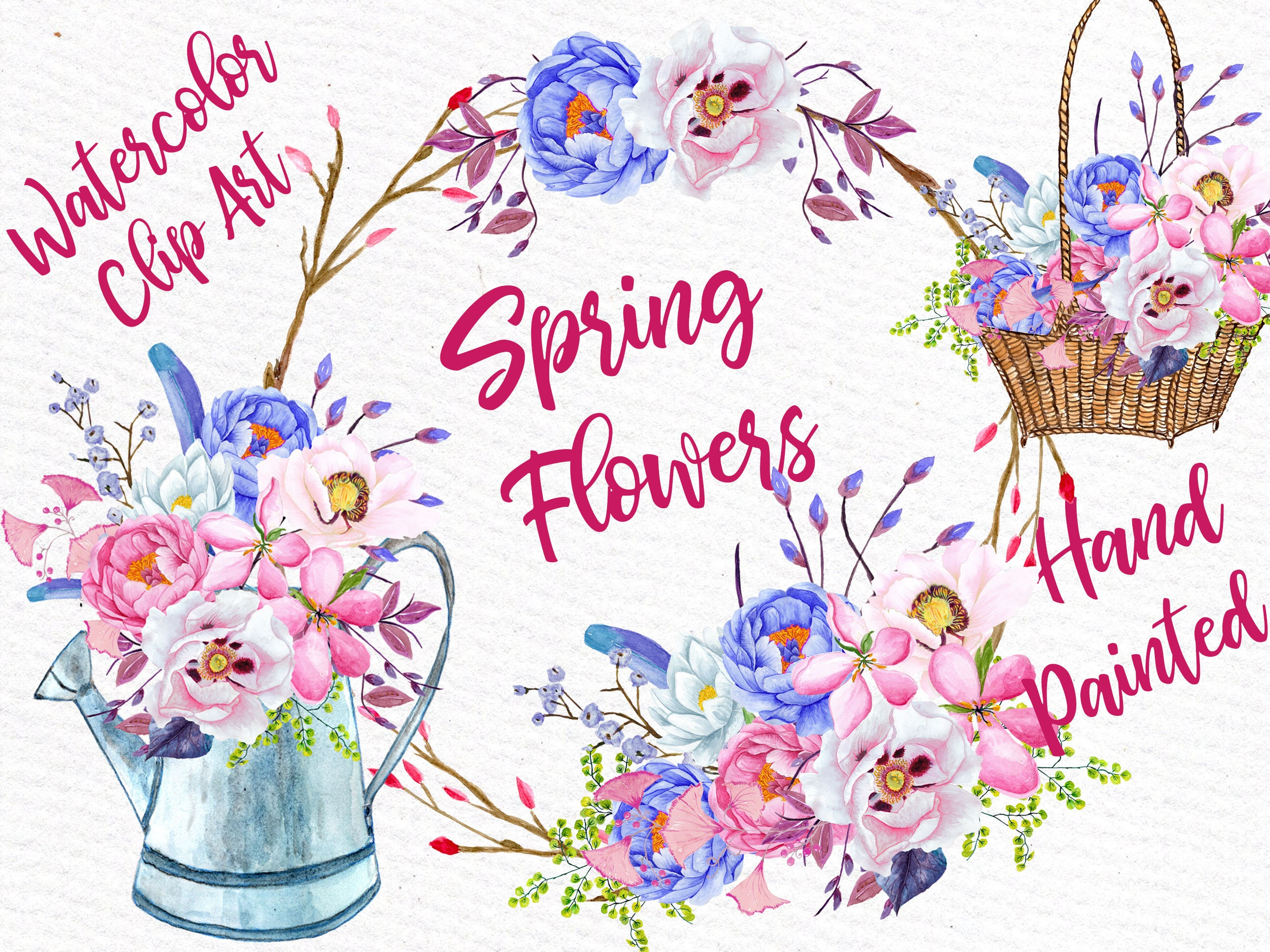 Watercolor Flowers Watercolor Clipart Spring Etsy