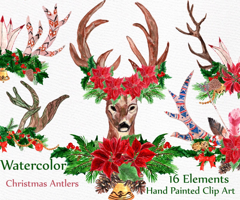 Weihnachten Deer Aquarell Clipart: Weihnachten   Etsy
