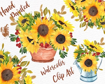 "Watercolor clipart: ""SUNFLOWER CLIPART"" Wedding invitations Wedding clipart Floral Bouquets Yellow Flowers Floral Illustration DIY Wedding"