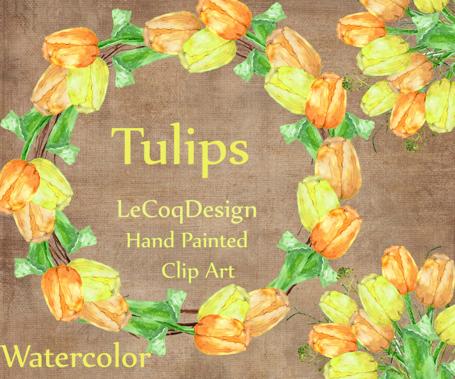 Tulips Flowers Clipart Floral Clipart Wedding Etsy