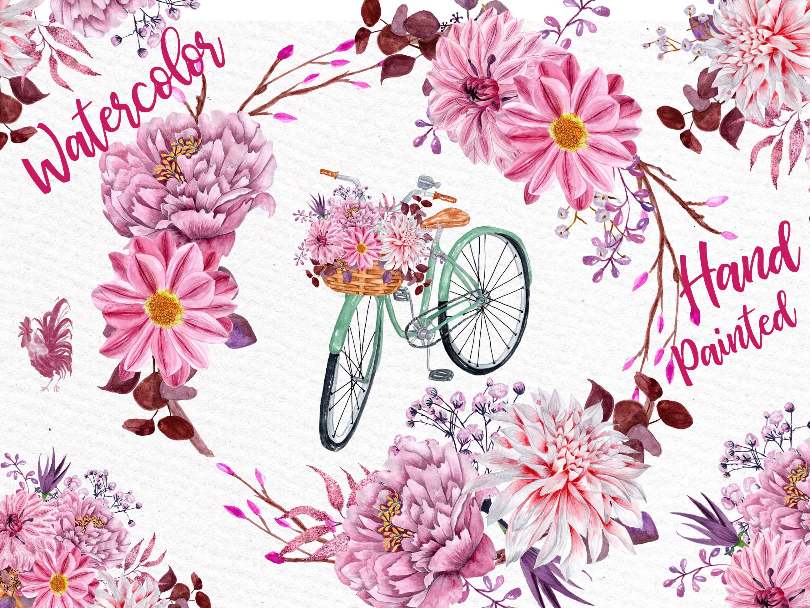 Watercolor flowers clipart: FLORAL CLIPART Floral | Etsy