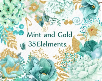 """Gold Mint flowers clipart: """"WATERCOLOR FLOWERS"""" Wedding flowers Gold glitter floral Teal flowers Turquoise Flowers DIY wedding Greeting card"""
