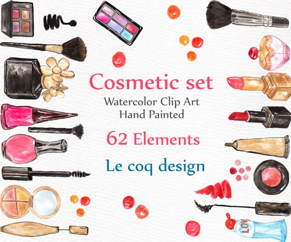 Watercolor Makeup Clipart: COSMETIC CLIP ART