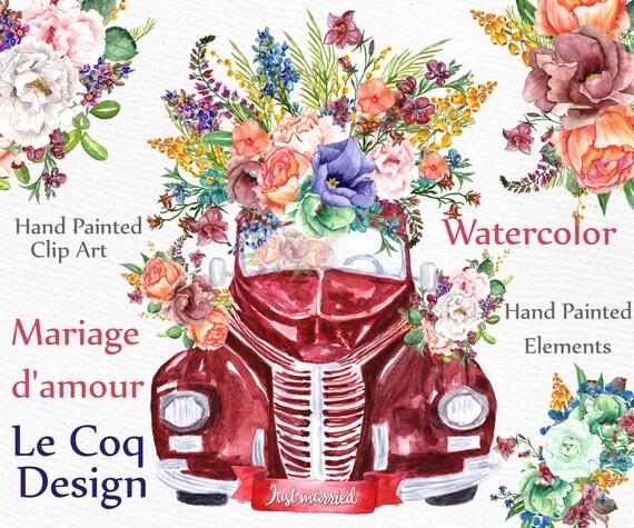 Aquarell Hochzeit Clipart Aquarell Blumen Etsy