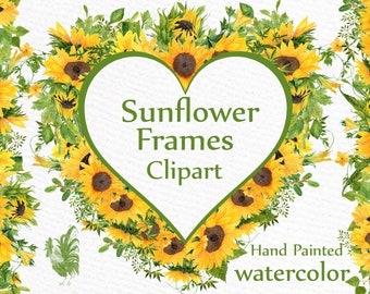 "Sunflower Watercolor Frames clipart: ""SUNFLOWER CLIPART"" Wedding clipart Floral Wreaths Yellow Flowers Floral Illustration DIY Wedding"