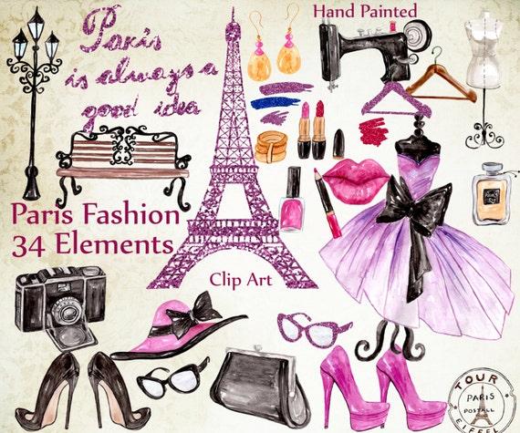 Paris Fashion Clipart Fashion Clipart Eiffel Etsy