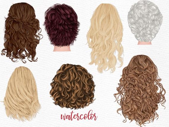 Hairstyles clipart GIRLS CLIPART Custom hairstyles Long hair Girls hair clipart Bald Girl Hair Watercolor clipart Grey Women hair