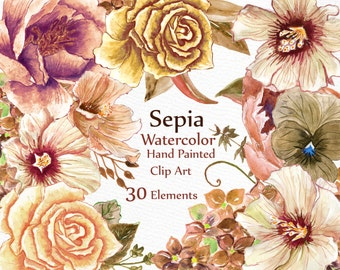 "Watercolor floral Clipart: ""FLORAL CLIP ART"" Sepia brown flowers  wedding Clipart Watercolor flowers diy elements wedding invitation"