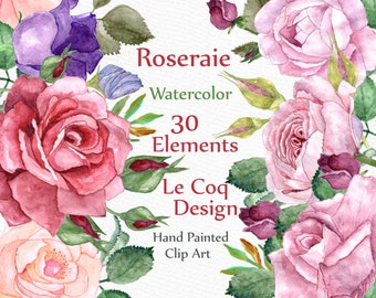 "Watercolor Floral Clipart: ""FLORAL CLIP ART"" Wedding Clip Art Roses Clipart Watercolor flowers greeting card diy clip art wedding invitation"