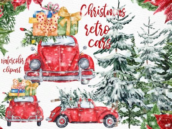 Aquarell weihnachten autos clipart weihnachten etsy - Aquarell weihnachten ...
