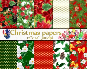 """Christmas digital papers: """"CHRISTMAS PAPERS"""" Floral watercolor papers Hand painted  Poinsettias papers Christmas background Winter decor"""