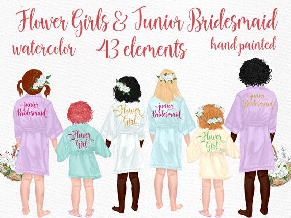 JUNIOR BRIDESMAID Wedding robes clipart Wedding clipart Little Girls clipart DIY invite wedding flower girls in robes Flower girl clipart