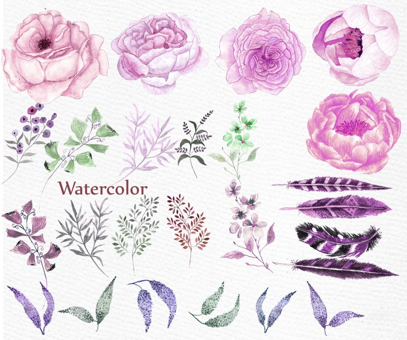 Watercolor wedding flowers clipart WATERCOLOR PEONY wedding clip art DIY clipart floral clipart Boho style pink flowers feathers clipart
