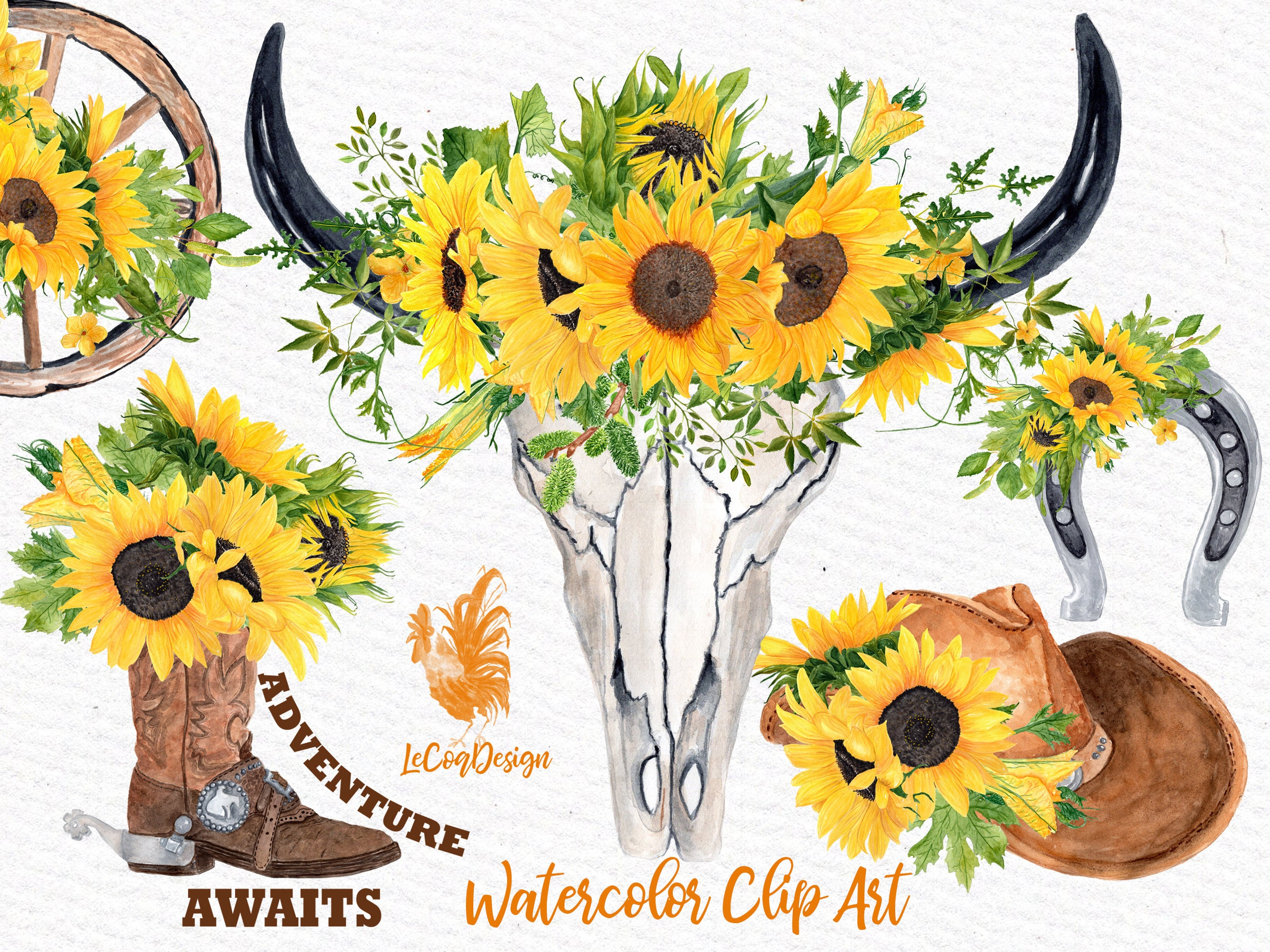 Sunflower Clipart: WESTERN SLIPART Cowboy clipart | Etsy