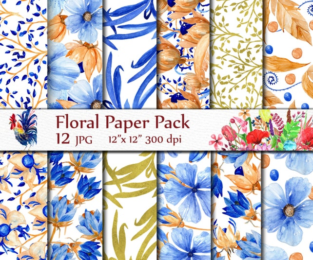 Floral Digital Papers WATERCOLOR PAPERS Blue Gold