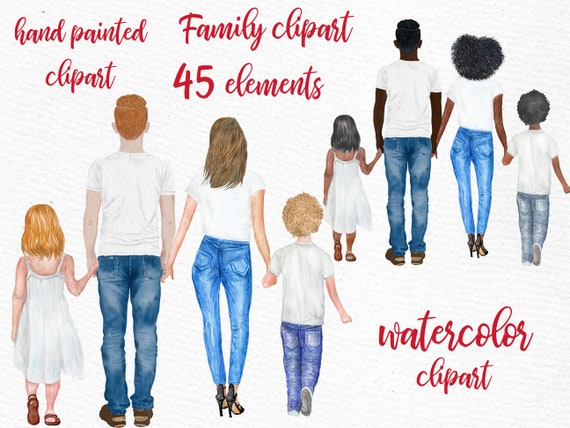 FAMILY FIGURES CLIPART Male clipart Dad Mom Children Watercolor people Girls clipart Mothers day Family People Kids Art Family clipart
