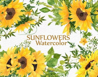 "Sunflower clipart Watercolor Wreath: ""SUNFLOWER BOUQUETS"" Wedding clipart Floral Wreaths Yellow Flowers Floral Illustration DIY Wedding"