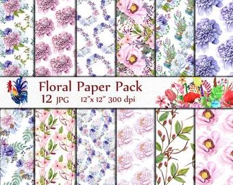 "Floral digital paper pack: ""FLORAL PAPERS"" Peonies printable Floral background Floral Pattern printable flowers Watercolor floral papers"