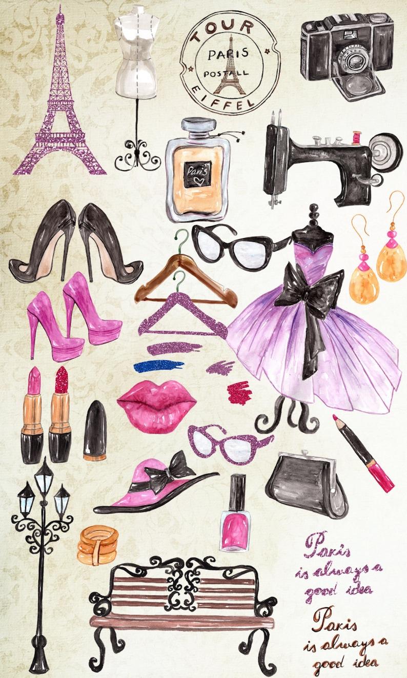 Paris fashion clipart FASHION CLIPART Eiffel Tower dress makeup shoes bags sunglasses beauty accessories DIY invites watercolor clipart