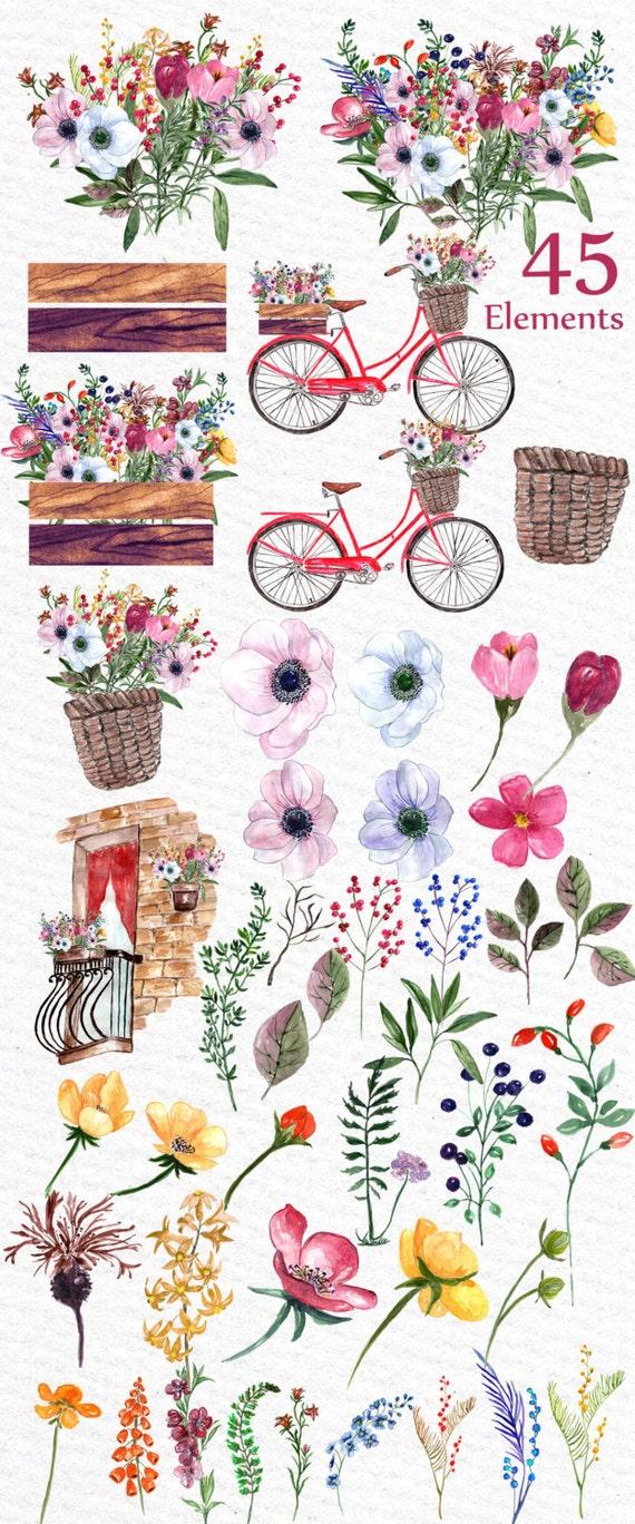 Clipart Mariage Aquarelle Floral Clip Art Bouquets Clipart