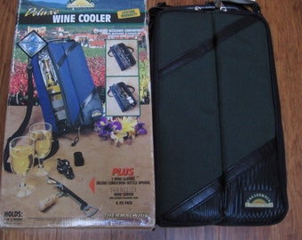 Vintage 90s, Insulated Wine Picnic Cooler/Tote for Two with Adjustable Canvas Shoulder Strap, 2 Wine Glasses, Bottle Opener in Original Box