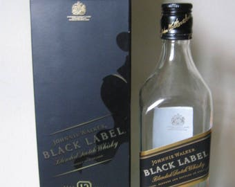 Empty Bottle with Original Black Box, Black Label Johnnie Walker Whisky, Good for Craft Projects, Decor, Hennessy Cognac Bottle - SOLD