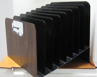 Vintage 90's, Metal Desk Brown Faux Wood Organizer, Industrial Vertical File Slanted Sorter, Steelmaster Lit-Ning, 8Slots Office File Holder