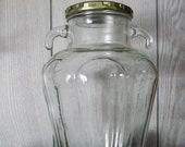 sale Clear Glass Jar, Unique Ornate Double Handles, Vertical Embossed Panels, Glass Tapered Shape, Farmhouse Jug,Unique Bottle Vase Tassos