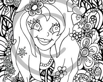 Flower Girl Coloring Etsy
