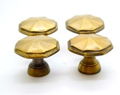 Brass drawer pulls. Hexagonal, Cupboard door knobs. Drawer knobs. Drawer pulls brass. English style brass 1.2 quot x 1 quot