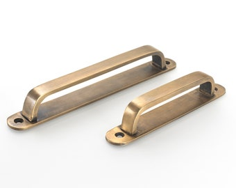 brass drawer handles. Backplate drawer pulls to cover existing holes.A range of sizes available to suit your kitchen makeover
